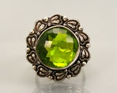 Vintage Chunky Ring Green Sterling Heavy