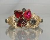 vintage Bracelet Hot Pink Rhinestone Clamper