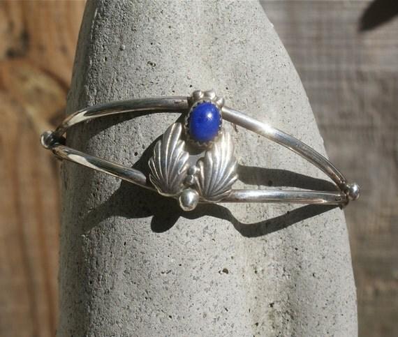 Vintage Sterling Bracelet Lapis SW Cuff
