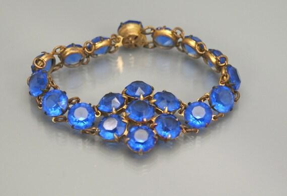 Deco Bracelet . Blue Crystal Open Back . Link Bracelet .