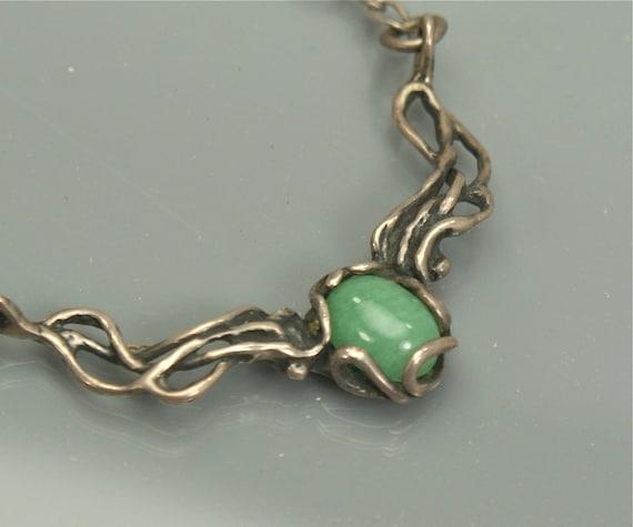 Vintage Jade Sterling Necklace . Unique Design .