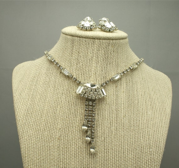 Vintage Rhinestone Necklace and Earrings Set