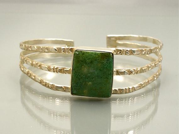 Vintage Sterling Cuff Bracelet Green Agate