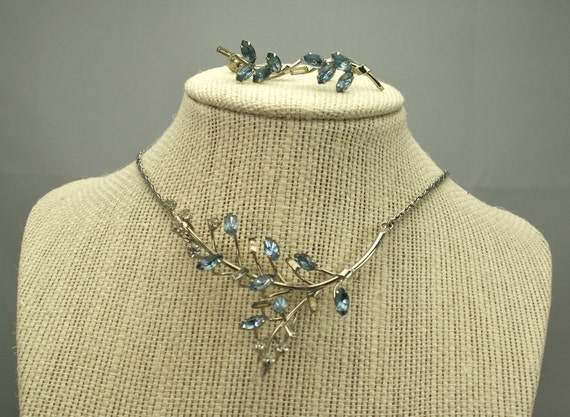 Vintage Rhinestone Necklace Branch and Earrings Set