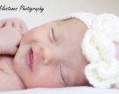Newborn Baby Crochet Flower Headband Pink Cream