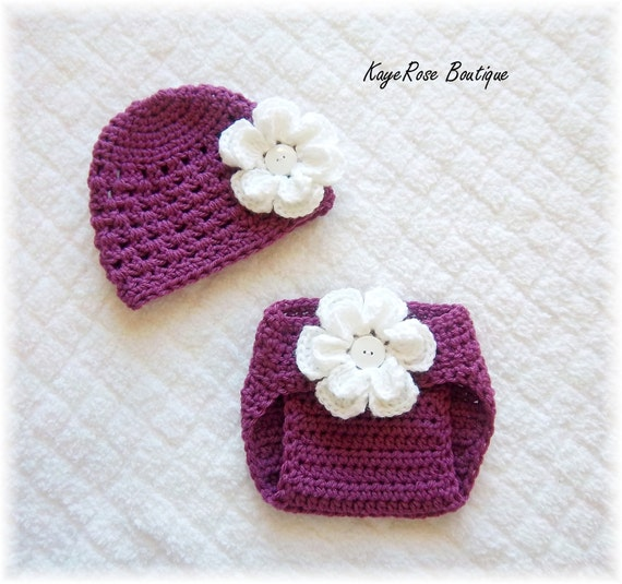 Baby Crochet Flower Hat & Diaper Cover Set Magenta and White 3-6 Months