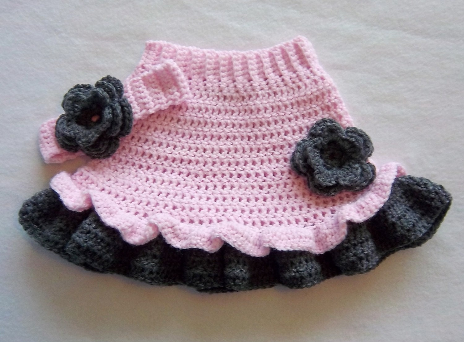 Crochet Baby Ruffle Flower Skirt Headband Set