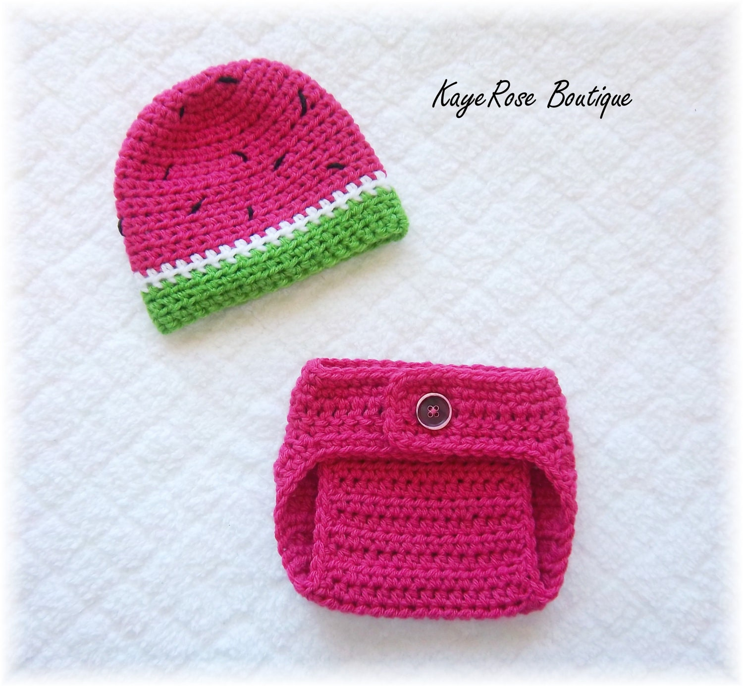 Newborn Baby Crochet Watermelon Hat & Diaper Cover by Sockmonkey7