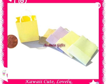 Handmade Collectible Dollhouse Miniature Paper Bag Grocery Bag Shopping Bag - Set of 5 Assorted Colors