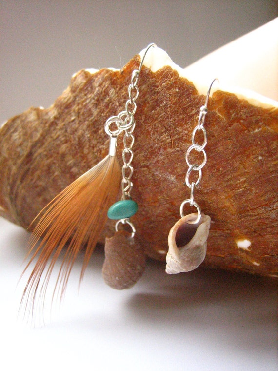 Shell Earrings, Periwinkle Shell and Feather Earrings with Turquoise made in Sterling Silver - Shell Collection