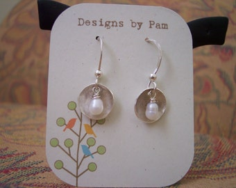 Sterling Silver Disk and Freshwater Pearl Earrings