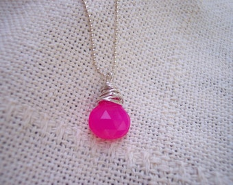 Hot Pink Chalcedony Necklace