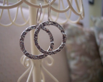 Antiqued Silver Hammered Hoops