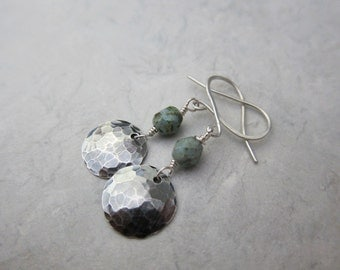 Sterling Disc and Faceted Jasper Earrings