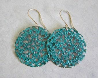 Antiqued Filigree Earrings in Turquoise