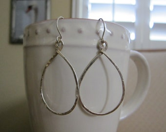 "1 3/4"" Sterling Silver Teardrop Hoop Earrings 16g"
