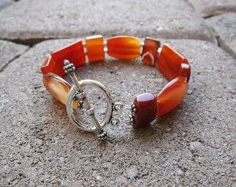 Natural Agage Gemstones and Sterling Silver Bracelet