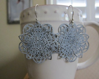 Antique White Filigree Earrings Lotus Bloom