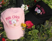 Breast Cancer Awareness Pink Chick Ball Cap  Hat