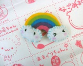 Rainbow and kawaii clouds felt brooch