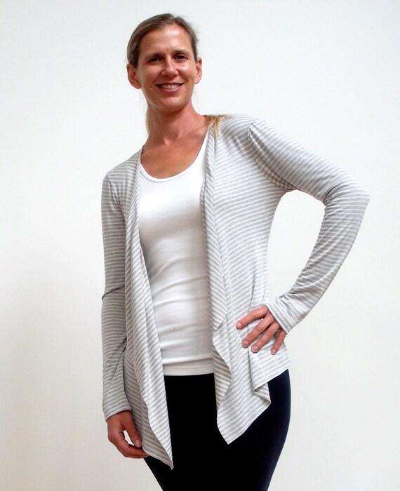 Stripe Draped Cardigan-Size M