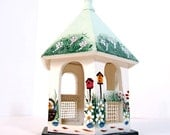 Vintage hand painted bird house