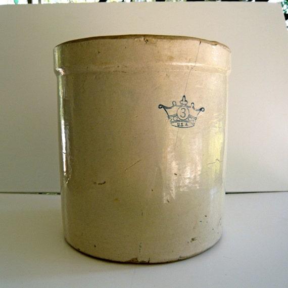 Vintage Kings Crown Number 3 Pottery crock