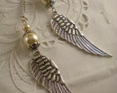 Handmade Silver Tone And Glass Pearls Angel Wing Necklace