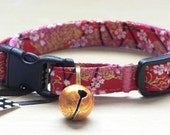 Breakaway Cat Collar with Bell, Adjustable and Comfortable in Red Cherry Blossoms