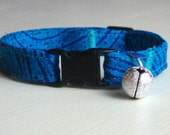Comfortable Cat Collar, Blue Tribal, Safety Breakaway, Adjustable with Bell