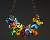 Curl  Lampwork Multicolor  Necklace, Handmade Glass Jewelry