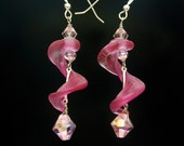 Pink Curl Earring, Frosted, Handmade Lampwork Glass Jewelry