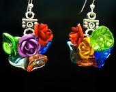 Flower Shower Earrings Small, Fall Series, Handmade Glass Jewelry