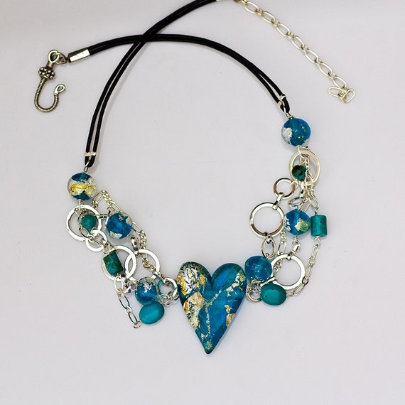 Unchain My Heart Necklace in Turquoise and Dichroic Glass, Handmade Glass Jewelry