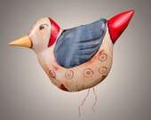 "Handmade Pottery Bird named ""Ruby"" -Stoneware clay with blue, red, tan rusty and yellow glaze. Copper legs- Made to  hang"