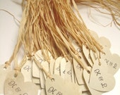 25 Heart Tags with Handstamped Initials- Aged Vintage- Raffia included