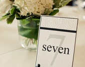 Wedding Reception Table Number- Handmade-Damask Embossing with ribbon