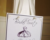 Bridal Suite Sign OR Groom's Suite with Bridal Party Only-Embossed with crystals-Ribbon Corners-Knotted Wide Ribbon to hang