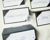 Vintage Garden Tent style Place Cards with Wide satin Ribbon, Candy Buffet Signs, Set of 6