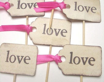 LOVE -Tag shape with ribbon- Handstamped-Set of 10