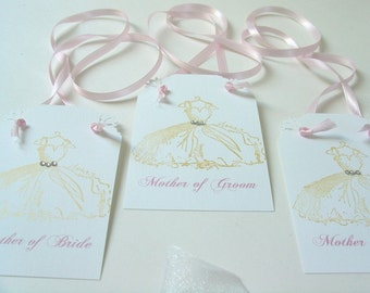 Fancy Dress Tags- Knotted - Aisle Marker- Gift tag- Bridesmaid- Personalized-Handstamped with crystals