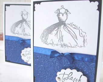 Bridesmaid Thank You Cards - Handstamped Scalloped- Vintage Inspired Embossed dress AND textured damask - BLACK BACKING