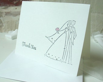 Bride and Groom Thank-You Card with white envelope-Handstamped-One card