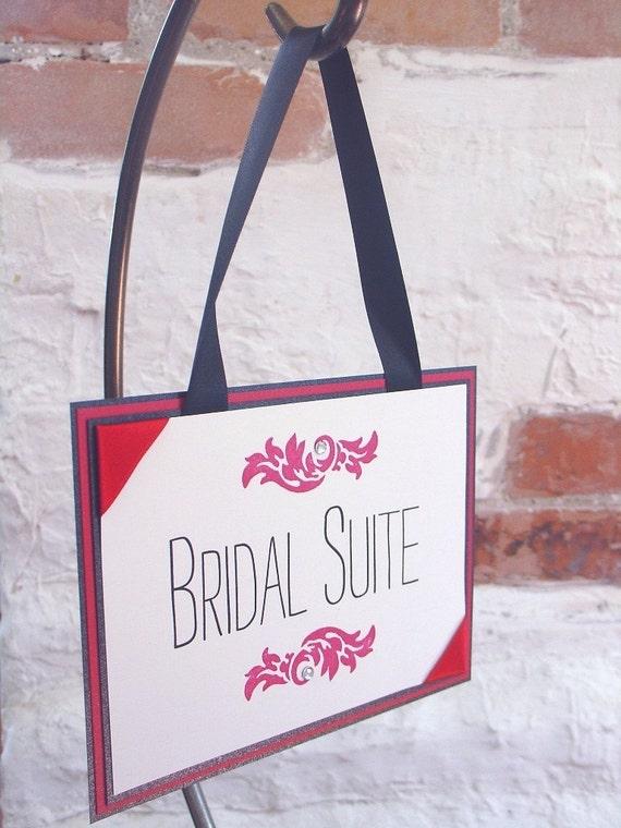 Vintage Merlot Hanging Bridal Suite Sign-Heat embossed Flourish-Layered
