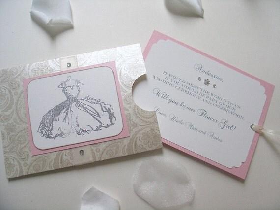 Pocket- Envelope style Vintage inspired- Will you be my Flower Girl-Wedding- Dress