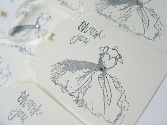 Fancy Dress Tags on ivory, Thank You-Set of 10