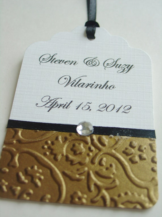 Damask/Floral embossed three dimensional fancy tags for wedding, thank you, wedding date, favor tag- Set of 25