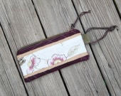 waxed canvas  zippered purse/wristlet with jute & leather