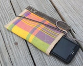 iPhone phone clutch waxed canvas, jute and vintage plaid cotton