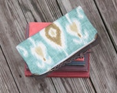 waxed canvas ikat foldover zippered clutch